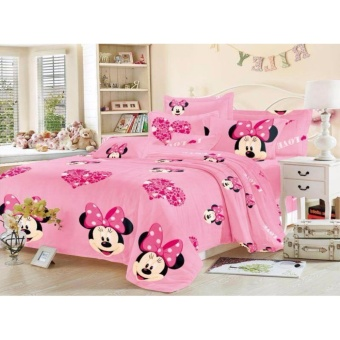 4in1 BedSheet Cotton Animated Minnie Mouse Design ( 2 pcs PillowCase , 1 pcs Fittedsheet and 1 pcs Beadsheet)-Single Price Philippines