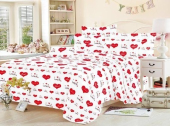 4in1 BedSheet Cotton Classic White with Red Hearts Design ( 2 pcsPillow Case , 1 pcs Fittedsheet and 1 pcs Beadsheet)- Queen