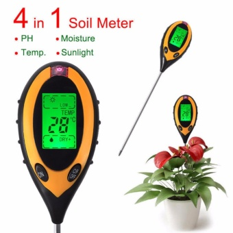 4In1 LCD temperature Moisture Sunlight Digital PH Soil Tester Meter- intl