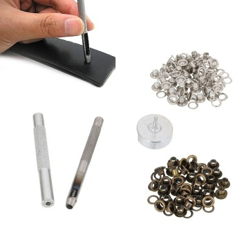 4MM Grommet Installation Setting Tool Kit Set + Leather Hole Punch + 80 Eyelets - intl