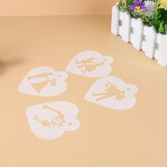 4pcs Cake Stencil Set Wedding Cookie Fondant Cake Decor Mould - intl - 5