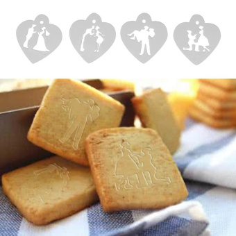 4pcs Cake Stencil Set Wedding Cookie Fondant Cake Decor Mould - intl - 2