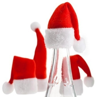 4Pcs Santa Hat Wine Bottle Cover Top Topper Christmas Party Table Decoration - intl - picture 2