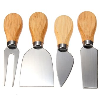 4Pcs Stainless Oak Wood Handle Cheese Butter Blade Fork Knives Set Kitchenware Price Philippines