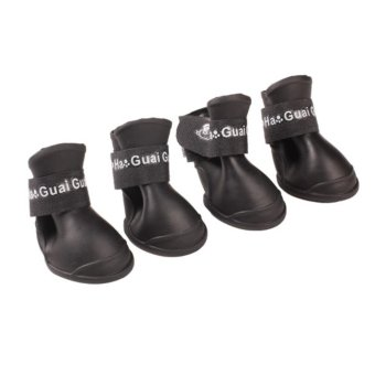 4x Pet Dog Waterproof Boots Rubber Rain Shoes color:Black size:M -intl