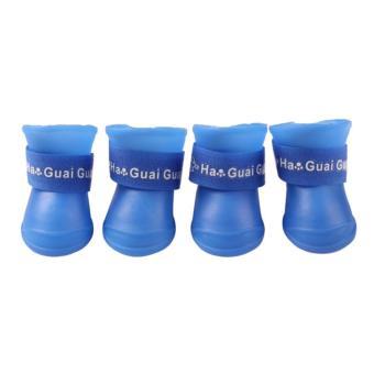 4x Pet Dog Waterproof Boots Rubber Rain Shoes color:Blue size:M - intl - 2