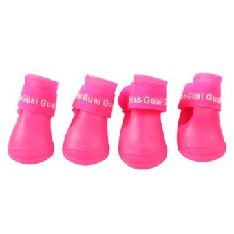 4x Pet Dog Waterproof Boots Rubber Rain Shoes color:Rose-carminesize:S - intl