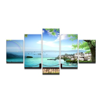4X6inX2 4X8inX2 4X10inX1 Modular HD Painted Canvas Paintings Art Oil Painting Sea bridge Home D cor Wall Decor pictures for Living Room Poster Atrwork (NO Frame) - intl