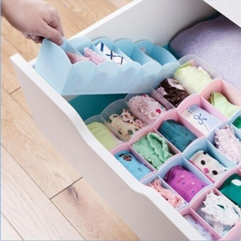 5 Cell Plastic Underwear Bras Sock Ties Organizer Storage Box Desk Drawer Closet - intl