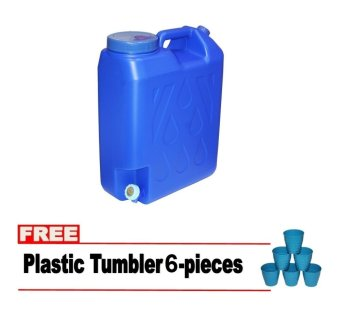 5 Gallon Slim Water Container with FREE 6 pcs Plastic Tumbler Blue
