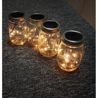 5 Pack Solar Mason Jar Lid,LED Mason Jar String Lights lid,10 LEDsColor Warm White Fairy String Light for Glass MasonJar,Home,Table,Garden Decor - 2