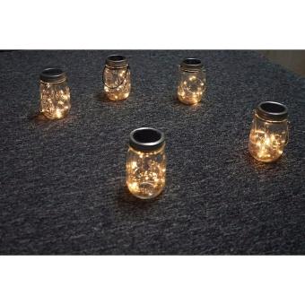 5 Pack Solar Mason Jar Lid,LED Mason Jar String Lights lid,10 LEDsColor Warm White Fairy String Light for Glass MasonJar,Home,Table,Garden Decor - 5