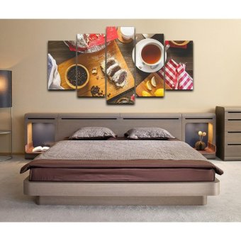 5 Panel Unframed Coffee Food Wall Canvas Paintings HD Print WallArt Modular Pictures For Restaurant Kitchen decor Wall art - intl - 5