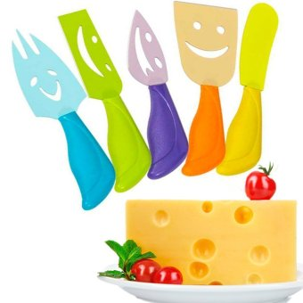 5 Pcs Cheese Knives Set Ultra-sharp Stainless Steel Slicer CutterCleaver Plastic Handle Fork Spreader(Colorful) Price Philippines