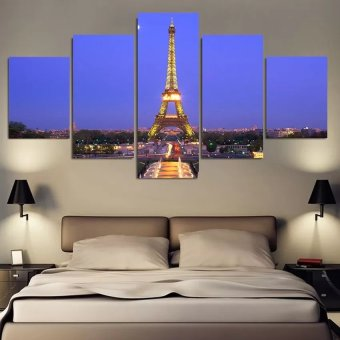 5 Piece Eiffel Tower Night Modern Home Wall Decor Canvas PictureArt HD Print Oil Painting on Canvas No Frame - Intl