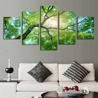5 Piece Green Trees Modern Home Wall Decor Canvas Picture Art HDPrint Painting On Canvas Artworks Unframed Painting By Numbers (NoFrame)