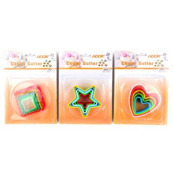 5 Piece Plastic Cookie Cutter Set of 5(Round/Heart/Square/Flower/Star) - 2