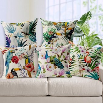 5 Styles Flamingo Parrot cushion covers Birds Throw Pillows Covers Flower Linen Cotton Decorative Pillow Cases Kids Favor Gift - intl
