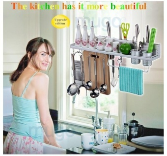 50 cm double cup eight hooks Space Aluminum Kitchen Storage Rack Pantry Pan Pot Organizer Cookware Holder Hooks Spice Dinnerware Shelf - intl