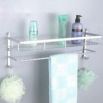 50CM Bathroom Kitchen Wall Mounted Space Aluminum Storage Rack With Towel Bar Hooks