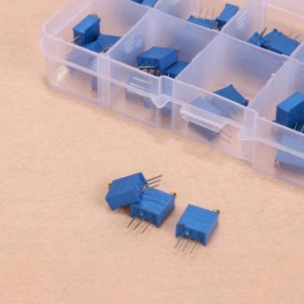 50pcs 100/200/500/1k/2k/5k/10k/20k/100k/500k ohm 3296W TrimmerResistors (Blue) - intl - 4