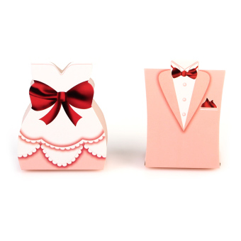 50PCS 25pairs Bride Groom Tuxedo Dress Gown Wedding Favors Candy(Pink) (Intl)