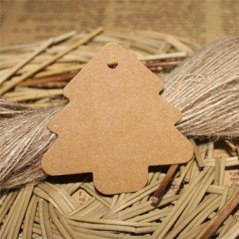 50pcs 5.5*5.4cm DIY Kraft Christmas Tree Shape Hang tag ChristmasParty Deco Paper Cards Gift tag WA625 P50 - intl - 2