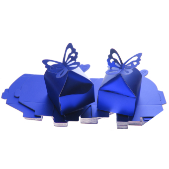 50PCS Butterfly Sweet Candy Gift Boxes Baby Shower Wedding Party Favor Blue - intl