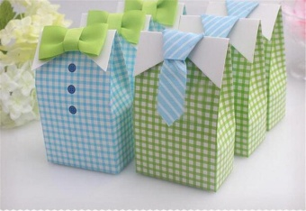 50pcs My Little Man Blue Green Bow Tie Birthday Boy Baby ShowerFavor Candy Box - intl Price Philippines