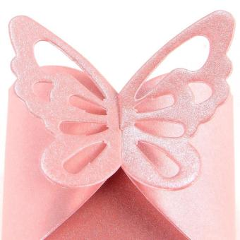 50pcs Pink Butterfly Decoration Vintage DIY Wedding Party Decoration Candy Boxes Baptism Birth Rose - 4