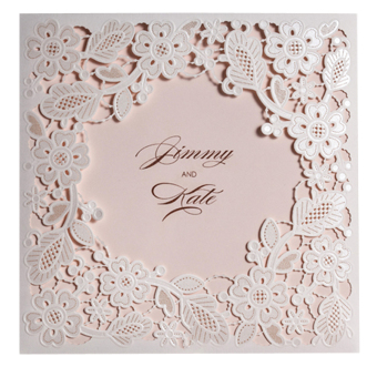 50pcs/lot White Lace Floral Flowers Casamento Invitation CardsLaser Cut Hollow Wedding Invitations (White) - Intl