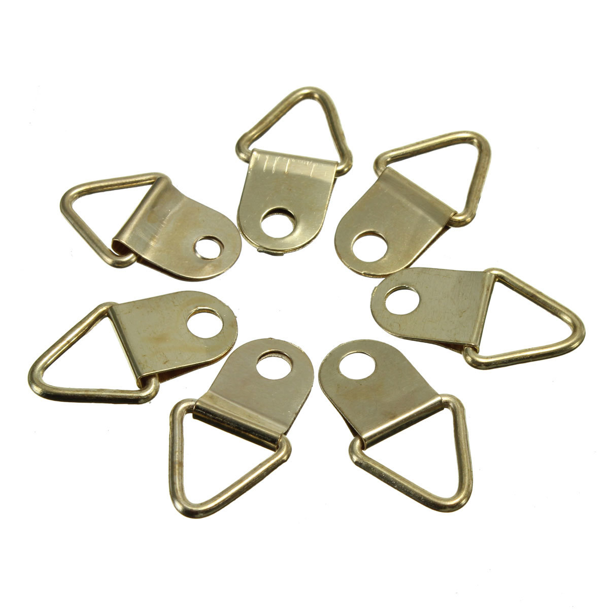 50Pcs/Pack Golden Brass Triangle Photo Picture Frame Wall Mount Hook ...