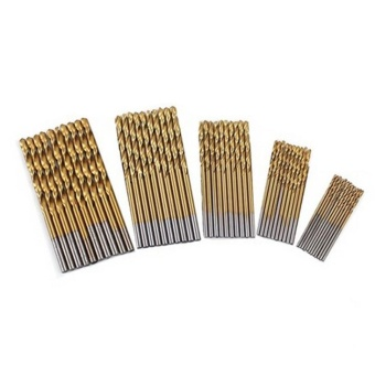 50Pcs/Set Twist Drill Bit Set Coated Drill Woodworking Wood Tool 1/1.5/2/2.5/3mm For Metal - Titanium Color - intl