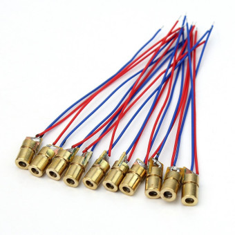 5/10Pcs Per Lot 650nm 6mm 3V 4.5V 5V Laser Dot Diode Module Red Copper Tube Head - intl