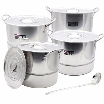 555 High-Quality Stainless Steel 4 in 1 Stockpots-Steamer Cookware Set. with free Laddle