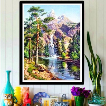5D Diamond Waterfall Landscape Painting Cross Stitch Embroidery Home Decor Craft - intl