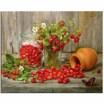 5D Diy Diamond Painting Mosaic Art Needlework Wild StrawberryPicture Of Rhinestone Round Diamond Embroidery Still Life - intl