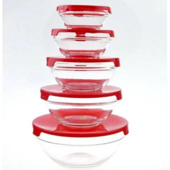 5 IN 1 Glass Bowl Set With Lid Cover