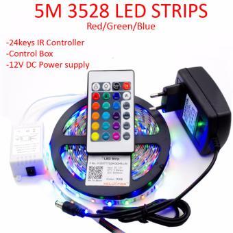 5M 3528 LED strip light RGB + 24keys Remote Control + with 12V 2A Power Adapter Supply Decor Light