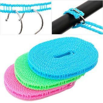 5M Adjustable Windproof Nylon Outdoor Anti Slip Slide DryingClothes Hanger Clothesline Rope Line Cord String Camping - intl