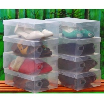 5pcs Clear Plastic Shoe Boxes Shoes Storage Organizer Box ContainerBoxes Shoebox - intl