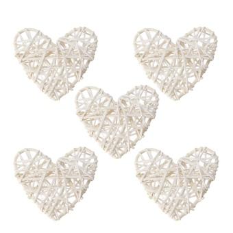 5PCS White Heart Sepak Takraw For Christmas Birthday Party & Home Wedding Party Decoration Rattan Ball - intl