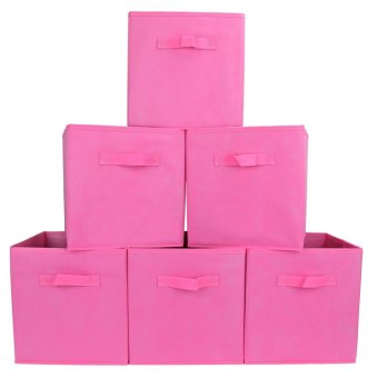 6-pack foldable storage box cube basket bin for toys clothes
