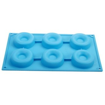 6 Silicone Donut Doughnut Cake Mould Chocolate Soap Candy MoldBaking Pan Blue- - intl Price Philippines