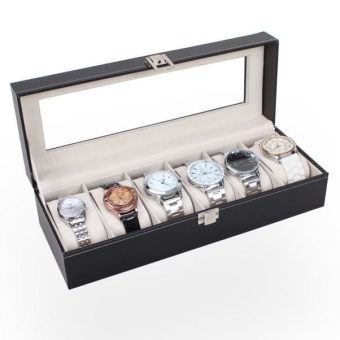 6 Slots Wrist Watches Jewelry Display Storage Organizer Leather BoxCase - intl