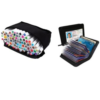 60 Colors Sets Touch Five Alcohol Graphic Art Twin Tip Pen MarkersBroad Fine Point(Picea meyeri) With Black Lock Wallet