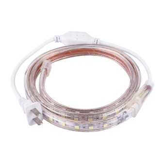 60 LEDs SMD 5050 Casing IP65 Waterproof LED Light Strip With PowerPlug, 60 LED/m, Length: 1m, AC 220V(White Light) - intl - 2