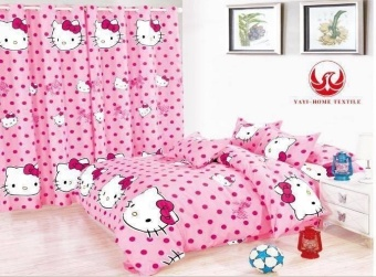 6in1 BedSheet US Cotton Animated Kitty POLKA DOTS Design ( 2 pcsPillow Case , 1 pcs Fittedsheet ,1 pcs Beadsheet and and 2pcsCurtain with round rings )- Double