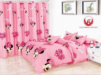 6in1 BedSheet US Cotton Animated Minnie Mouse Design ( 2 pcs PillowCase , 1 pcs Fittedsheet ,1 pcs Beadsheet and and 2pcs Curtain withround rings )-Queen