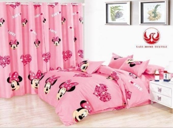 6In1 Bedsheet Us Cotton Animated Minnie Mouse Design ( 2 Pcs PillowCase , 1 Pcs Fittedsheet ,1 Pcs Beadsheet And And 2Pcs Curtain WithRound Rings )-Single